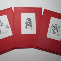 Bunny Rabbit Blank Greetings Card Set Red x 3 Notelet