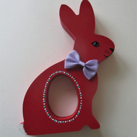 Easter Bunny Egg Holder Rabbit Chocolate Egg Wooden Hand Painted MDF