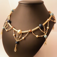 Gold Festoon Necklace with Pearls, Citrine and Crystals