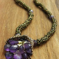 Lavender Harvest - Amethyst, Copper and Beadwork Necklace with Swarovski Crystal