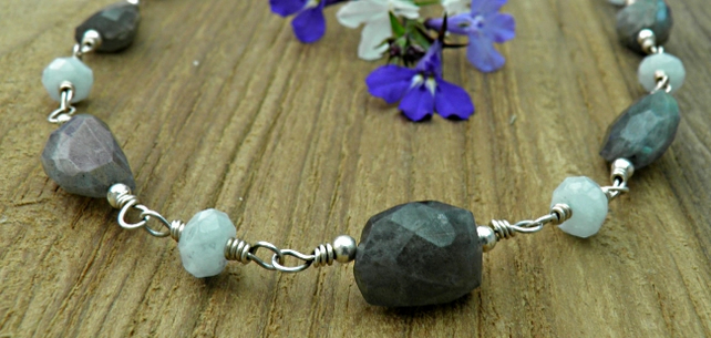 Aquamarine and Labradorite Sterling Silver Necklace