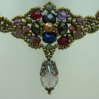 Embellished Choker with Agate and Swarovski Pearls and Crystals