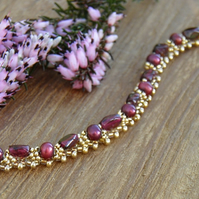 Garnet and Freshwater Pearl Bracelet with 24k Gold Seed Beads