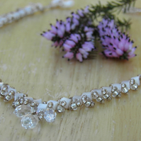Mother of Pearl Necklace and Sterling Silver Earrings with Crystals and Pearls
