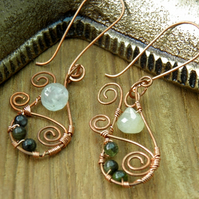 Tourmaline and Prehnite Copper Earrings
