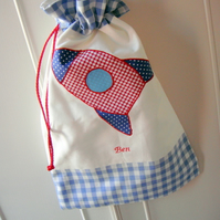 Boys personalised drawstring bags - available in different designs