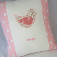 Girls personalised appliquéd cushions - available in different designs