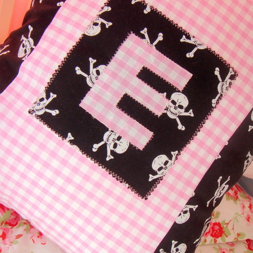 Personalised pink pirate cushion