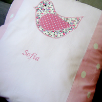 Girls personalised appliquéd cushions