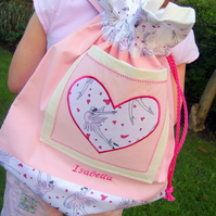 Personalised ballet drawstring bag