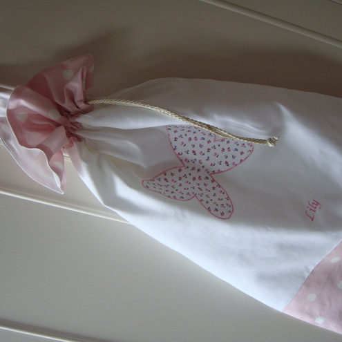 Personalised butterfly drawstring bag