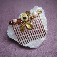 Honey Rose Gold beaded haircomb