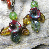Woodland flower and leaf glass bead earrings