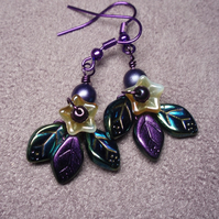 Purple Leaf and flower earrings