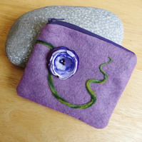Purse mauve needle felted with  silk flower