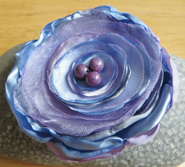 Fabric Flower Brooch Summer Blues