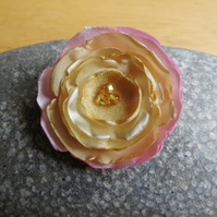 Pink and Apricot Rose Brooch