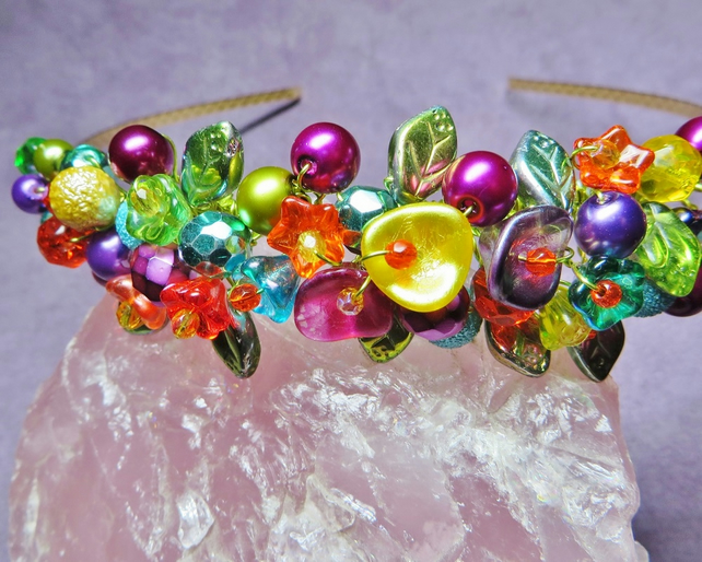 Multicoloured Beaded Alice Band, Hair Band