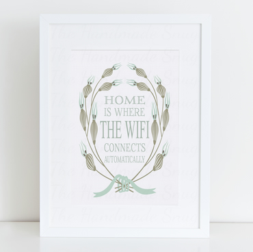 Home Is Where The WIFI Connects Automatically Framed Print - Word Art-Typography