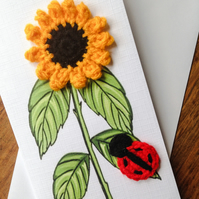 Crochet sunflower and ladybird
