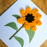 Mini Card - Crochet sunflower