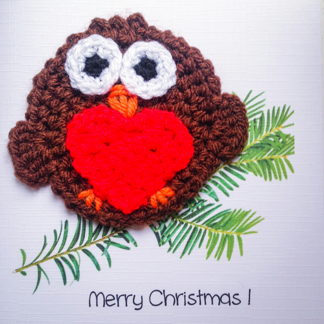 Crochet robin Christmas card
