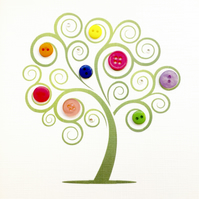 Button tree  greetings card