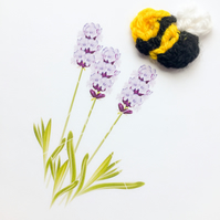 Mini card of lavender flowers with crochet bee.