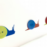 3 x Button snails greetings card