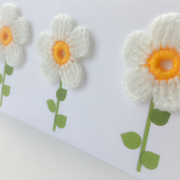 3 x Crochet flowers on Card