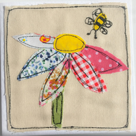 Applique flower and bee