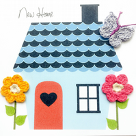Cute house with crochet flowers