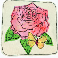Rose appliqué card