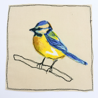 Blue tit applique card