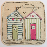 Beach hut applique card