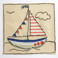 Sailing boat appliqué card