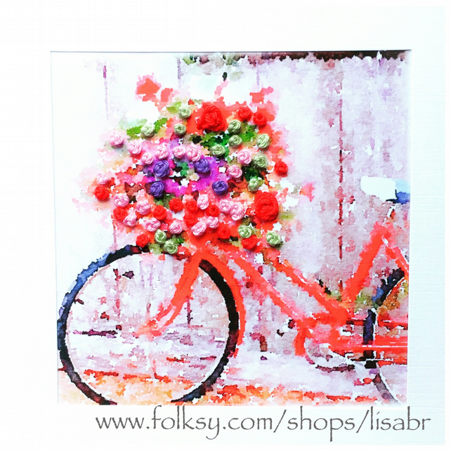 Emboirdered card - Bicycle