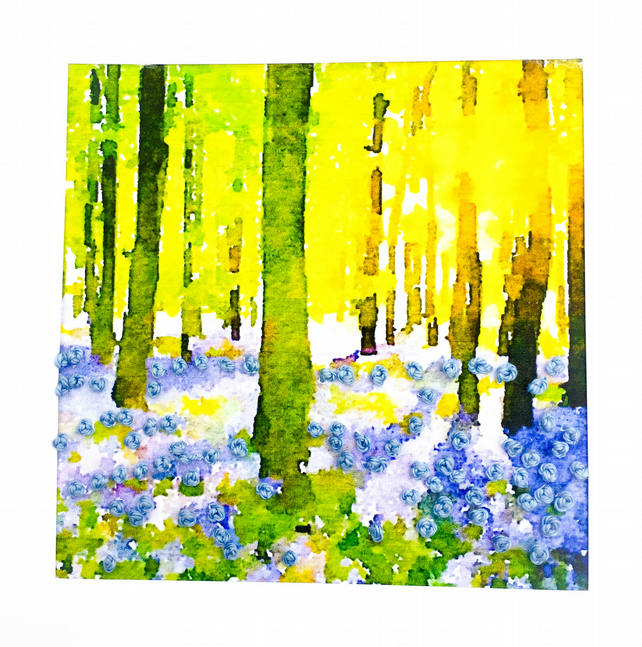 Embroidered bluebell card