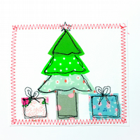 Christmas tree appliqué card