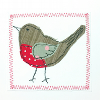Christmas robin appliqué card