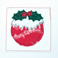 Christmas pudding appliqué card