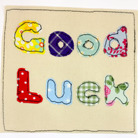 Good Luck appliqué card
