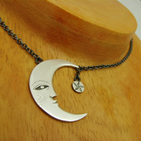 melancholic moon necklace, with star, handmade in silver