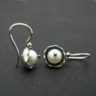 Spring blossom earrings, silver and natural pearl