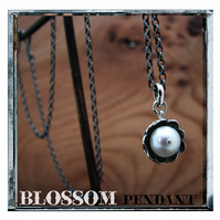 Spring blossom pendant, silver and natural pearl