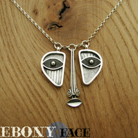 EBONY FACE, triptych necklace handmade in silver and wood.