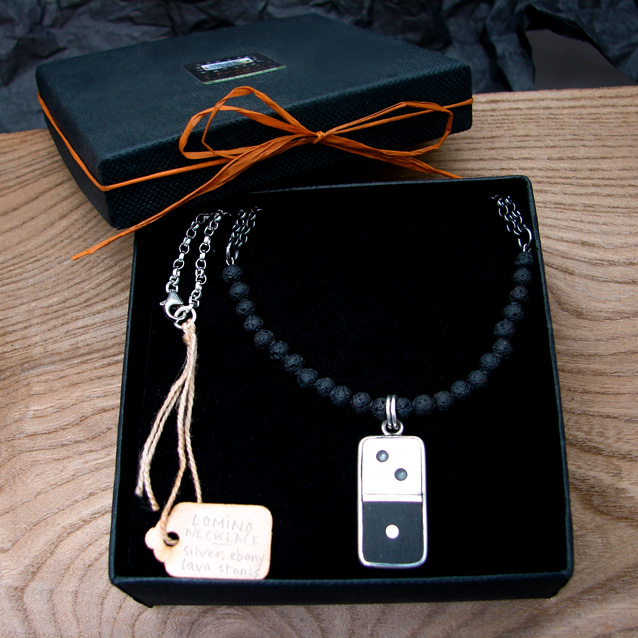 domino necklace, silver and ebony, lava stones, graduated black to white chain.