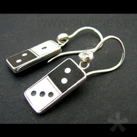 domino earrings, silver and ebony.