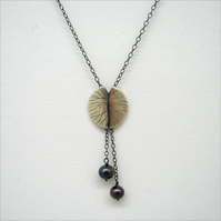 silver lilypads necklace with natural pearls