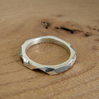 geometric faceted silver ring